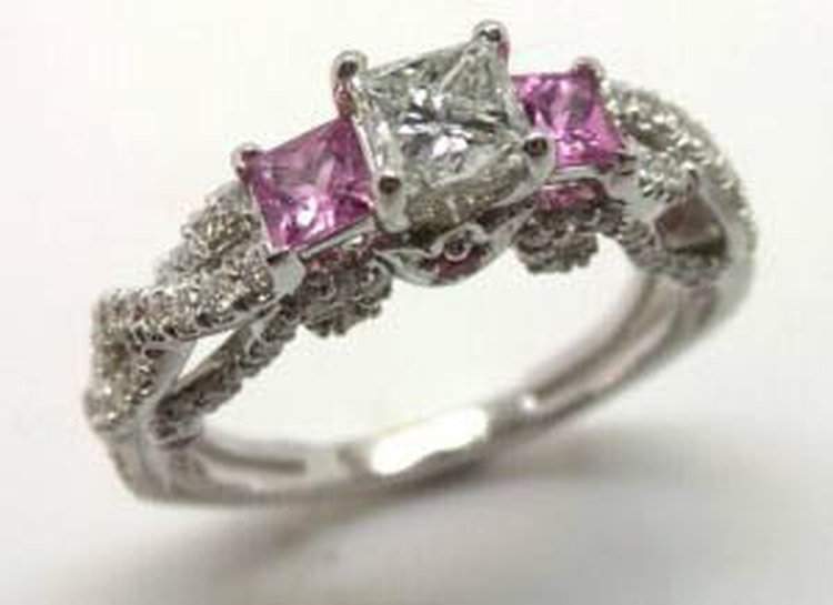 14 Karat White Gold Ring with Diamonds and Pink Sapphires